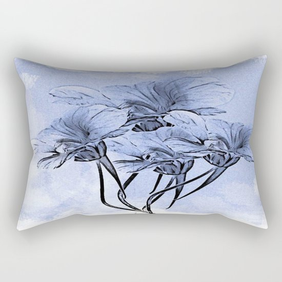Painterly Blue Floral Rectangular Pillow