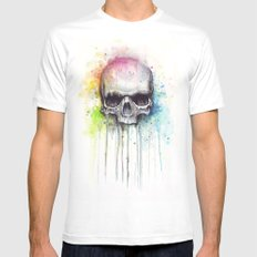 Skull Rainbow Watercolor Painting Skulls Mens Fitted Tee MEDIUM White
