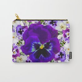 PURPLE & WHITE PANSY GARDEN ART Carry-All Pouch