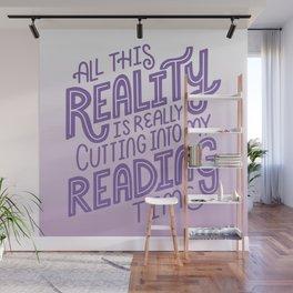 Reality Vs. Reading Bookish Purple Wall Mural