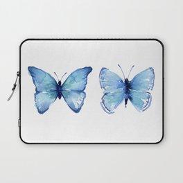 Two Blue Butterflies Watercolor Laptop Sleeve