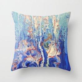 Fun Ocean Jellyfish with Blue Green Seawater and Aqua Seafoam Throw Pillow