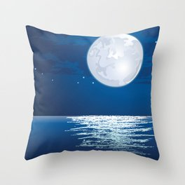 Moonlit path on the sea Throw Pillow