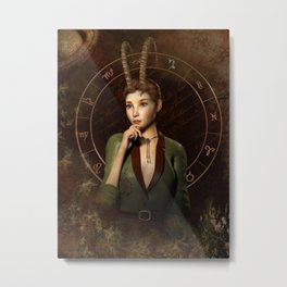 Capricorn zodiac fantasy circle Metal Print