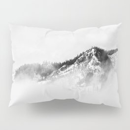 Minimalist Ominous Forest Mountain Foggy Misty Black And White Photo Pillow Sham