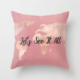 Lets See It All - Rosegold World Map Throw Pillow