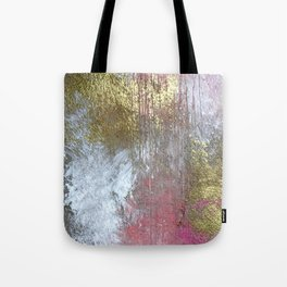 Golden Girl: a pretty abstract mixed media piece in pink, white, gold, and gray Tote Bag