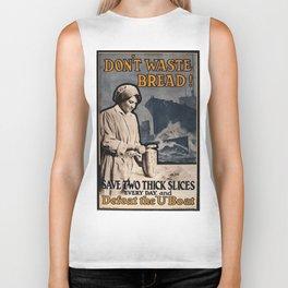 Vintage poster - Don't Waste Bread Biker Tank