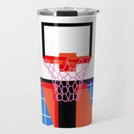 Baller - memphis retro grid neon pattern minimal basketball sports athletic art print Travel Mug