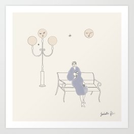 Reading in the Park at Night in Good Company  Art Print