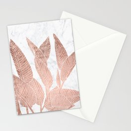 Modern faux Rose gold leaf tropical white marble illustration Stationery Cards