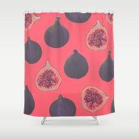 karen hallion Shower Curtains featuring Fig pattern by Georgiana Paraschiv
