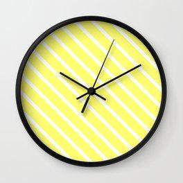 Custard Diagonal Stripes Wall Clock