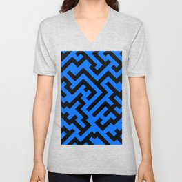 Black and Brandeis Blue Diagonal Labyrinth Unisex V-Neck