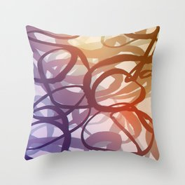 Abstract circling seeweed purple and red Throw Pillow