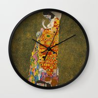 gustav klimt Wall Clocks featuring Gustav Klimt - Hope, II by TilenHrovatic
