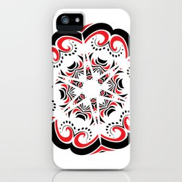 Floral Black and Red Round Ornament iPhone Case