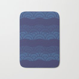 Oriental Blue Abstract Pattern with Lines and Waves Bath Mat