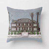 home alone Throw Pillows featuring Home Alone Christmas by M. Gulin