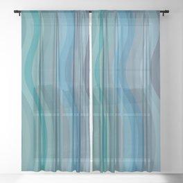 Zen Wavy Lines in Ocean Blue and Green Sheer Curtain