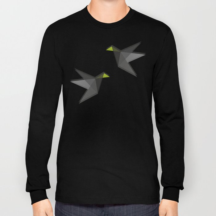 Black and White Paper Cranes Long Sleeve T-shirt