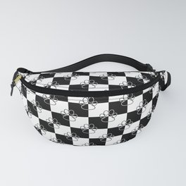 Black and White Checker Dog Paws Fanny Pack