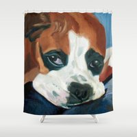 marley Shower Curtains featuring Marley the Boxer Dog Original Portrait Painting by Barking Dog Creations Studio