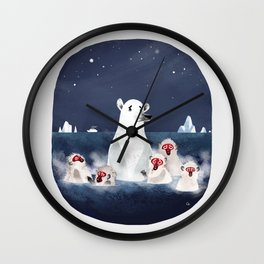 Global warming polar bear Wall Clock