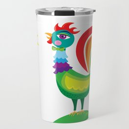 Rainbow Rooster Travel Mug