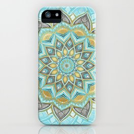 Cyan & Golden Yellow Sunny Skies Medallion iPhone Case