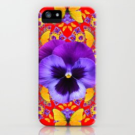 RED PURPLE PANSIES & GOLD  BUTTERFLIES KALEIDOSCOPE ART iPhone Case
