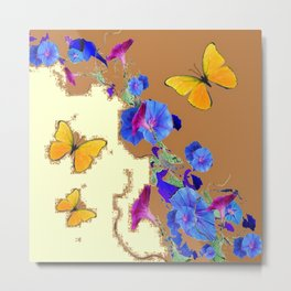 Coffee & Cream Blue Flowers butterfly Art Metal Print