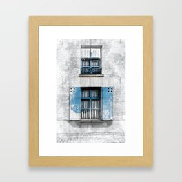 Architect Drawing of Blue Wooden Windows Framed Art Print