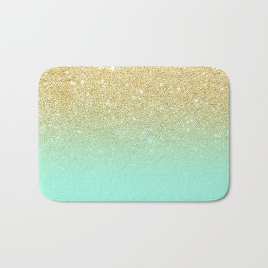 Modern gold ombre mint green block Bath Mat