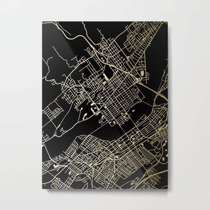 Wilkes-Barre Gold and Black Map Metal Print
