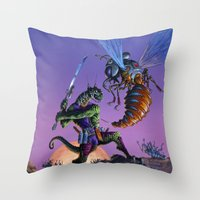 Throw Pillows featuring Bug Wars by Hescox