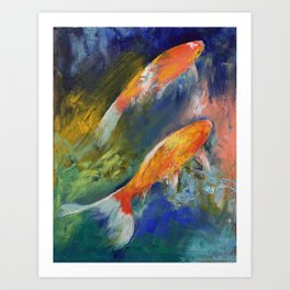 Two Koi Fish Art Print
