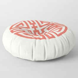 Cai / Wealth In Red And Chamois Floor Pillow