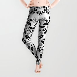 Abstract seamless black and grey ornament Leggings