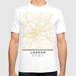 LONDON ENGLAND CITY STREET MAP ART T-shirt