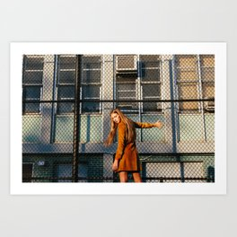 Woman at Golden Hour Fence Art Print