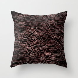sparkling rose waves Throw Pillow