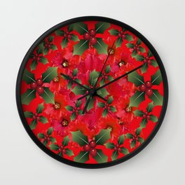 RED HOLIDAYS FLOWER & HOLLY  WREATH ART Wall Clock