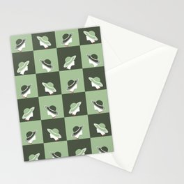 Hat lady in Dark and Mint green Stationery Cards