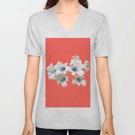 Blue Heart Lilies on Living Coral Unisex V-Neck