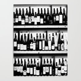 Wine Bottles in Black And White #decor #society6 #buyart Poster