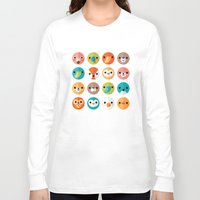 rose Long Sleeve T-shirts featuring SMILEY FACES 1 by Daisy Beatrice