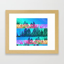 Retro Glitch Mountain Scene Framed Art Print