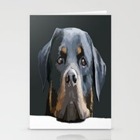 rottweiler Stationery Cards featuring Rottweiler Portrait Vector by taiche