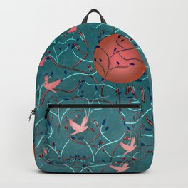 Art Nouveau Moon and Doves (Bronze and Blue) Backpack